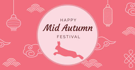 Mid-autumn festival illustration with lanterns and bunny. Chinese decoration elements and full moon with caption. Greeting card for Chuseok, Mid Autumn Festival. Pink banner. Vector flat illustration