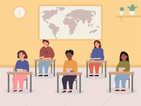 Kids sitting at their desk with books in classroom with world map and clock on the wall. Interior of lecture room with mix race mix ethnic school pupils. Concept back to school. Vector illustrstion.