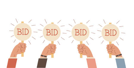 Auction bidding. Hands holding bids paddle. Sale and buyers. Business competitors buying. Financial auctioneers holding cards with caption. Flat arm with signs. Vector illustration on white.