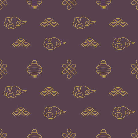 Chinese seamless patterns. Dark asian background with golden elements. China traditional ornament with clouds, paper lanterns. Celebration wrapping, textile for mid autumn festival or new year holiday
