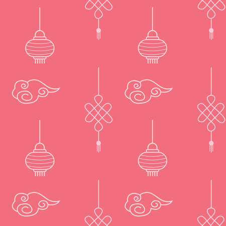 Asian seamless patterns. Bright cawai pink background with elements. China traditional ornament with chinese paper lanterns and know of happiness. Wrapping girlish textile for new lunar year holiday.