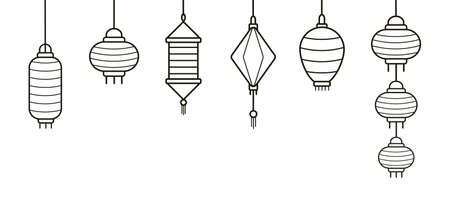 Icon set of Chinese paper street lanterns of different types and sizes outlined in flat style. Bundle of traditional asian festival decorations isolated on white background. Vector illustration
