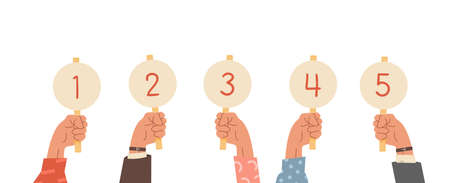 Group of raised human hands holding score cards. Businessmen and casual dressed sleeve with amount of scores got in competition, tournament or contest. Juries assessment on the competition. Vector.