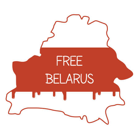Geographical map. New national flag colors placed inside the country contour with blood drops. Caption Free Belarus. Peaceful demonstration of Belarusian people. Violence by dictatorship. Vector.