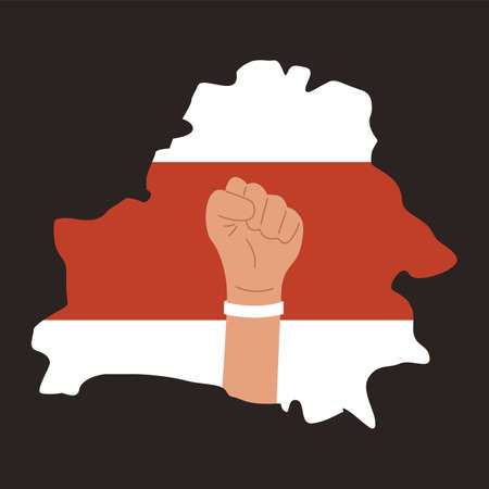Silhouette of Belarus map. Red and white protesters flag. Fist raised up with white bracelet on wrist. Protests in Belarus after election results 2020. Vector illustration on black background. Ilustração