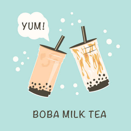 Banner for popular taiwanese bubble milk tea. Two take away glasses with pearl milk tea and brown sugar syrup bubble tea. With playful capture Yum and title. Advertisement. Vector illustration. Ilustração