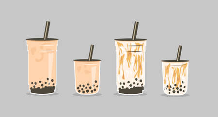 Set of famous Taiwanese beverage. Take away glass of brown sugar bubble tea and pearls milk tea in two sizes small, medium and large cup. Vector illustration for street asian drinks at night market. Ilustração