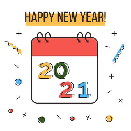 Happy new year 2021 greeting card. Colorful liner icons and confetti on white background. Calendar. Memphis geometric bright style contemporary banner for winter holidays. Ilustração