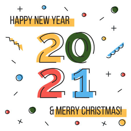 Happy new year 2021 and Merry Christmas greeting card. Colorful liner icons and confetti on white background. Geometric bright style contemporary banner for winter holidays.