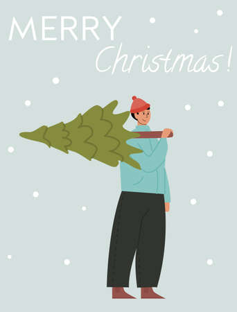 Happy man carrying Christmas tree flat vector illustration. Merry guy with fir tree outdoors. Traditional Xmas shopping. Festive market. Winter season holiday preparation concept. Greeting postcard. Ilustração