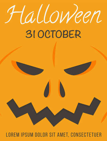 Colorful orange Halloween poster with place for text vector illustration. All saints day invitation with close up horror pumpkin. Announcement leaflet design of seasonal autumn holiday.