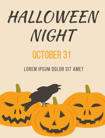 Poster of Halloween party with scary pumpkins and sitting rowen vector illustration. Placard or invitation of All saints day with crow and orange horror pumpkin faces. Autumn holiday advertising. Ilustração