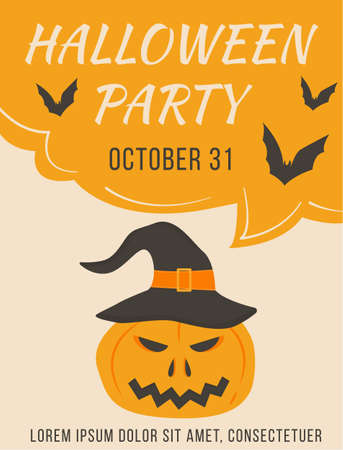 Poster of Halloween party with scary pumpkin and witch hat vector illustration. Placard or invitation of All saints day with bats and orange horror face. Autumn holiday advertising flyer. Ilustração
