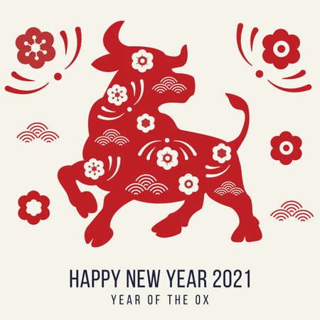 Happy new year 2021 festive banner with ox. Red paper cut buffalo with floral asian pattern. Greeting card with oriental elements with craft style on background. Winter holiday vector illustration. Ilustração
