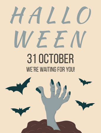 Halloween. All saints day party invitation, poster, template, flyer. Holiday creepy leaflet design with text. Helloween advertising card, layout. Zombie hands and flying bats. Vector illustration. Ilustração