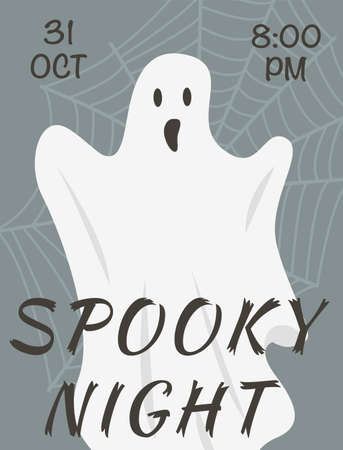 Vector flyer of Halloween event with spooky ghost and web on background. All saints day poster. Advertising template for 31 october costume party. Spooky night announcement. Illustration.