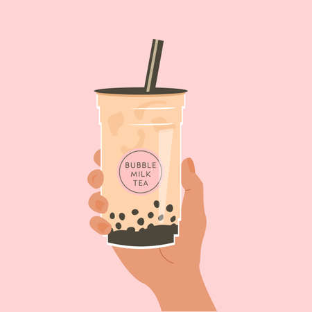 Hand holding a cup of famous Taiwanese bubble tea on pink background. Take away glass with sticker of pearl milk tea. Vector illustration for street asian drinks at night market. Advertisement banner.