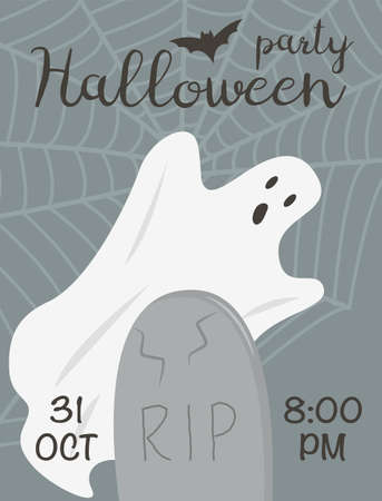 Flyer of Halloween event with spooky ghost and tombstone on graveyard. All saints day poster. Web and bats. Advertising template for 31 october costume party with place for text vector illustration.