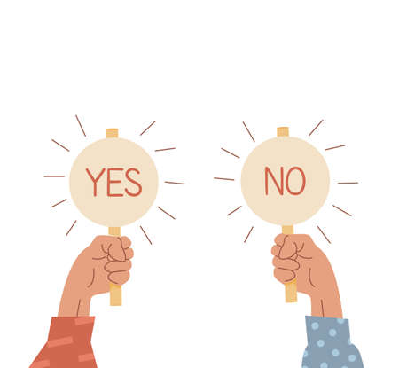 Two raised up arms holding signs with Yes and No caption. Choice concept. Vote icons. Businessman hand holding plates with positive and negative sign. Select true or false. Vector illustration.