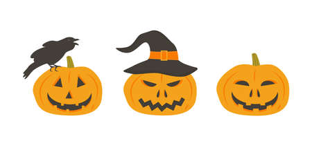 Set of scary pumpkins in witch hat. Creepy pumpkin face with crow. Jack lantern characters. Collection of design elements for Halloween party invitation or flyer.