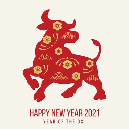 Happy new year 2021 festive banner with ox. Red paper cut buffalo with golden floral asian pattern. Greeting card with oriental elements with craft style on background. Holiday vector illustration.