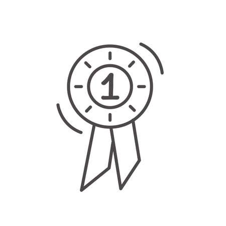 Winner rosette for horse riding dressage or jumping competition. Simple minimal outline ribbon icon. Award medal in flat style. Trendy modern 1st winner round logotype isolated on white background. Vettoriali