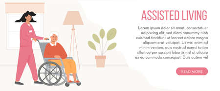 Banner for retirement home. Concept of assisted living. Residential care facility at nursing home. A nurse with elderly woman in wheelchair. Social worker, volunteer and patient. Vector illustration.