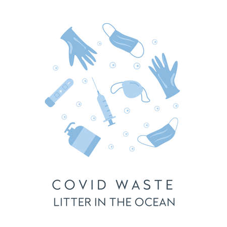 Banner Covid waste litter in the ocean. Face masks, latex gloves, medical garbage after COVID 19. Web template of coronavirus plastic pollution. Concept of pandemic garbage. Vector flat illustration.