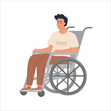 Modern Young Disabled Man on Wheelchair. Smiling handicapped boy character isolated on white background. Man getting sick, rehabilitation at hospital. Vector illustration. Vecteurs