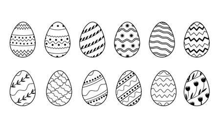 Vector Collection of decorated Easter eggs in doodle style isolated on white background. Bundle of outlined icons with different pattern for spring holiday with various ornaments. Seasonal set. Vector Illustration