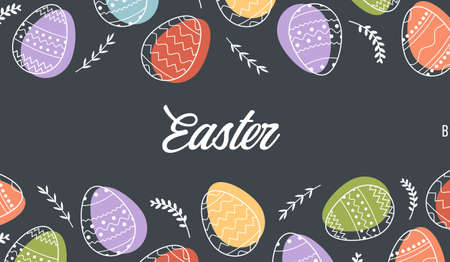 Festive banner frame template with trendy outlined geometric pattern on Easter Eggs. Decorative horizontal stripe from eggs with leaves on dark black color background. Vector border for holiday sale. Vector Illustration