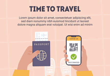 Concept of travelling during Coronavirus. Top view of person holding a phone. An app with QR code as proof of Covid Vaccine. In other hand is passport with airline boarding pass. Vaccinated passenger.