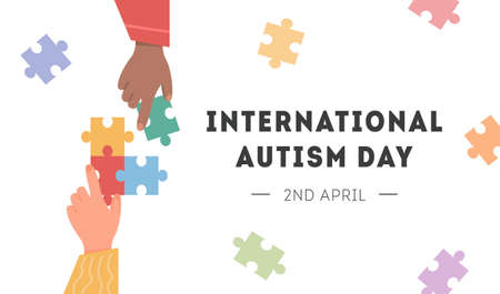 International Autism Awareness Day Card. Caucasian and african hand holding colourful puzzle pieces. Psychological concept of Autistic children. Social Difficulty. Mental disability disorder. Vector.