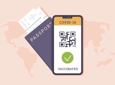 Travelling abroad for vacation with Vaccine Passport. Concept of Jab Online Certificate. Status Vaccinated on mobile phone app with qr code. Worldwide health campaign. Vector flat.