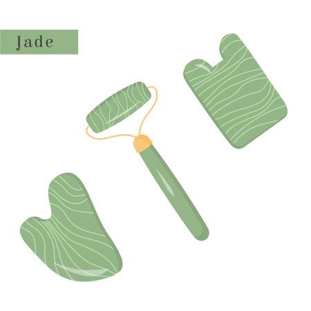 Set of Gua Sha and green natural Jade roller. Scraping massage tool. Natural green stone scraper. Natural anti-aging facial lifting for woman. Trendy asian skin care method. Vector flat illustration. Ilustracje wektorowe