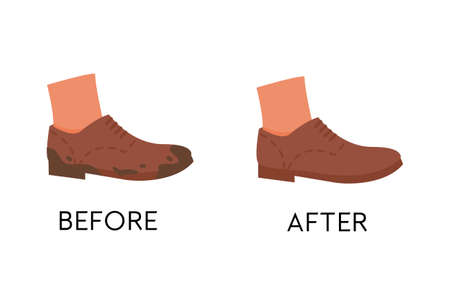 Before and After Dirty Shoe Cleaning Service. Unclean and clean footwear care. Brown color flat sole trendy shoes. Muddy and polished boots. Vector flat illustration isolated on white.