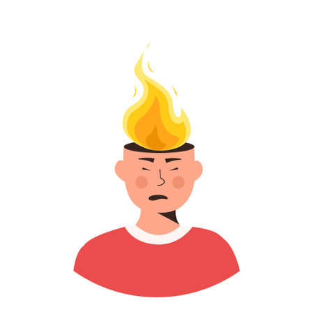 Male character head in fire vector flat illustration. Man or woman feeling stress at work, anger. Concept of emotional expression of burnout or annoyance. Mental illness. Psychological symptom.