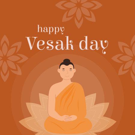 Happy Vesak Day Vector Card. Translation from Sanskrit Festival of Gautama Birth, Death, Nirvana. Lord Buddha sitting on lotus seat on orange background. Vector Buddhist religious holiday celebration.