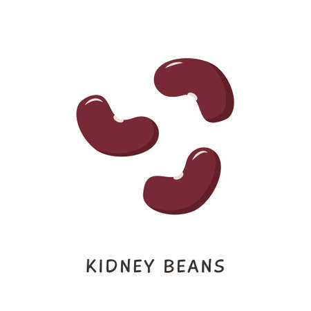 Vector cartoon Kidney Beans icon. Few dark color legume pulses isolated on white background. Beans in flat cartoon style. Vegetarian protein, ingredient for vegan diet.