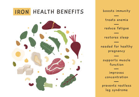 Iron rich food sources and health benefits. Infographic poster for nutritionist. Dietetic organic nutrition. Healthy products information card. Vector illustration in flat style.