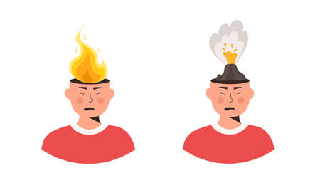 Set of male characters head in fire vector flat illustration. Man or woman feeling stress at work, anger. Concept of emotional expression of burnout or annoyance. Mental illness. Psychological symptom 矢量图片