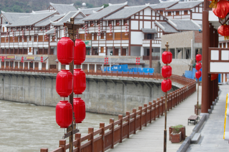 red lanterns by the river Stock Photo - 81685232