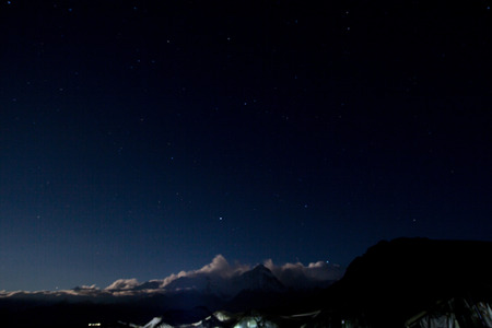 The starry sky under the snow mountain