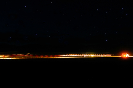 Car track under the stars Stock Photo