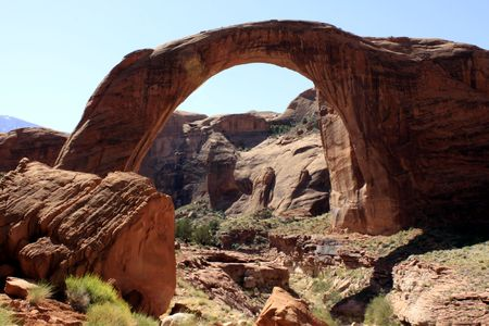 Rainbow bridge at Lake Powell in Arizona.