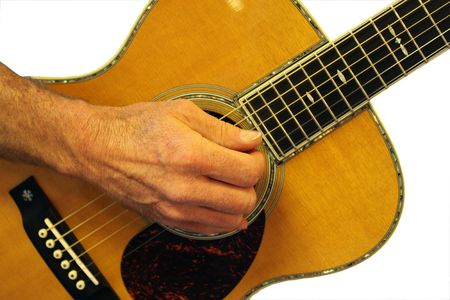 Close up of persons hand playing a guitar.