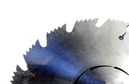 Close up of a section of a table saw blade.