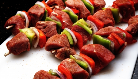 Kababs ready for the grill.