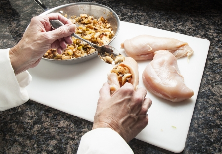 Stuffing chichen breasts