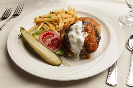 Lamb Burger at table